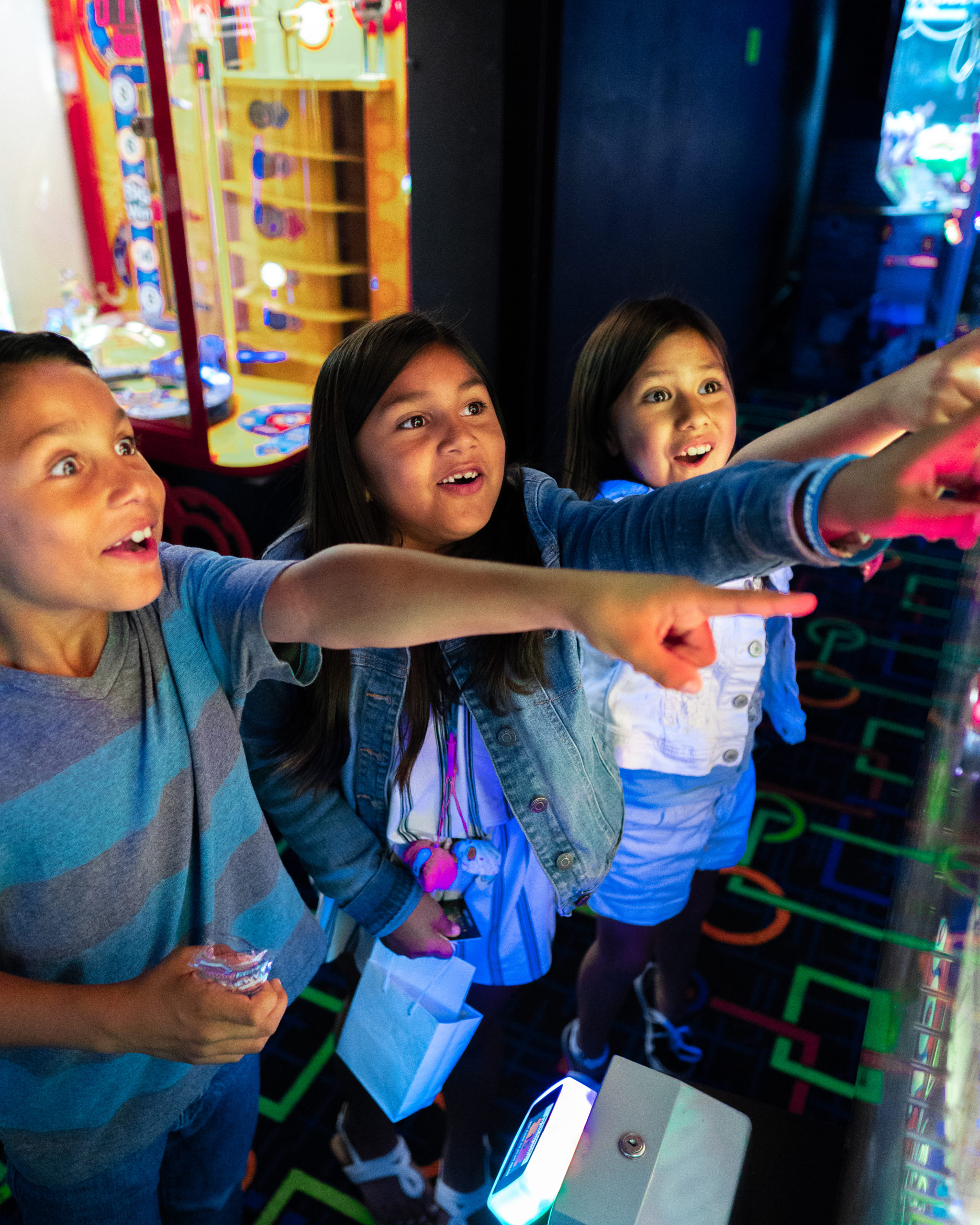Kids Playing Arcade Games - Glo Mini Golf, Riverside, CA